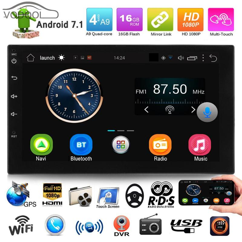 7 Touch Screen MirrorLink Bluetooth Android Car Stereo MP5 Player GPS Navigator Auto 2 Din FM Radio Autoradio Support DVR 7 touch screen 2 din quad core car radio android 7 1 wifi bluetooth auto mp5 player gps navigator autoradio with reverse camera