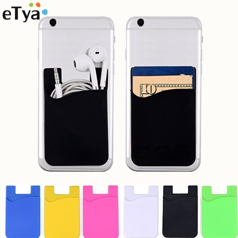ETya Fashion Women Men Cell Phone Card Holder Sticker Bus Card Business Credit ID Card Holder Slim Case Pocket On 3M Adhesive