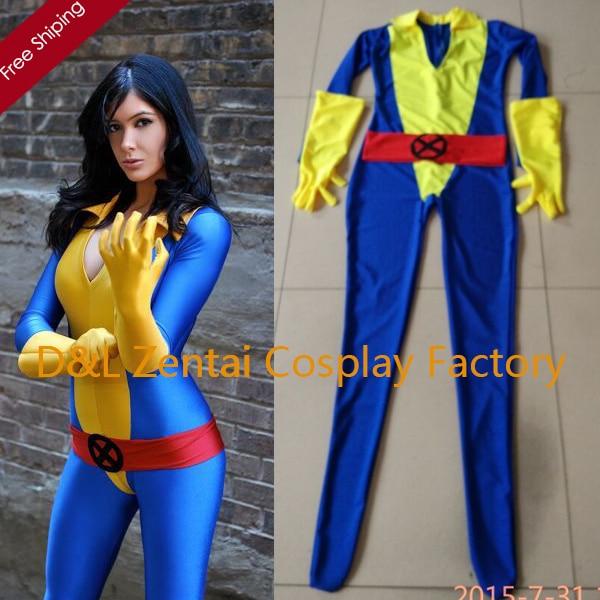 Free Shipping DHL 2016 Adult X, Men Kitty Pryde Shadowcat Superhero Costume V,neck