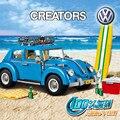 Новый Создатель Серии Городской Автомобиль Volkswagen Beetle модель Строительные Блоки, которые Поддерживаются legoed 10252 ЛЕПИН 21003 Синий Техники Автомобиль подарок