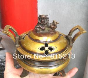 bi0043 old Double ear foo dog lion cover Elegant censer bronze Statue|Statues & Sculptures|Home & Garden -