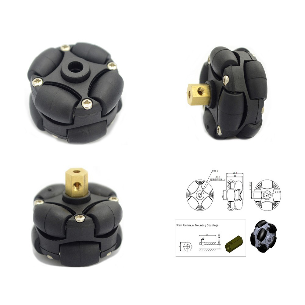 UniHobby UH184 38mm 1 5inch Double Plastic Omni Wheel with 3mm 4mm mounting couplings for Arduino