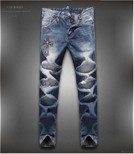 Hot New 2015 Free shipping  Fashion high quality Nostalgic blue cotton brand men's jeans 28-36