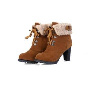 Image 4 - MORAZORA 2020 sıcak satış kar botları kadın akın rusya sıcak tutmak sonbahar kış çizmeler dantel up yüksek topuklu yarım çizmeler için kadın ayakkabı