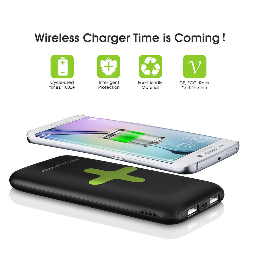 Buy 8000mah qi wireless portable charger for Iphone x portable charger