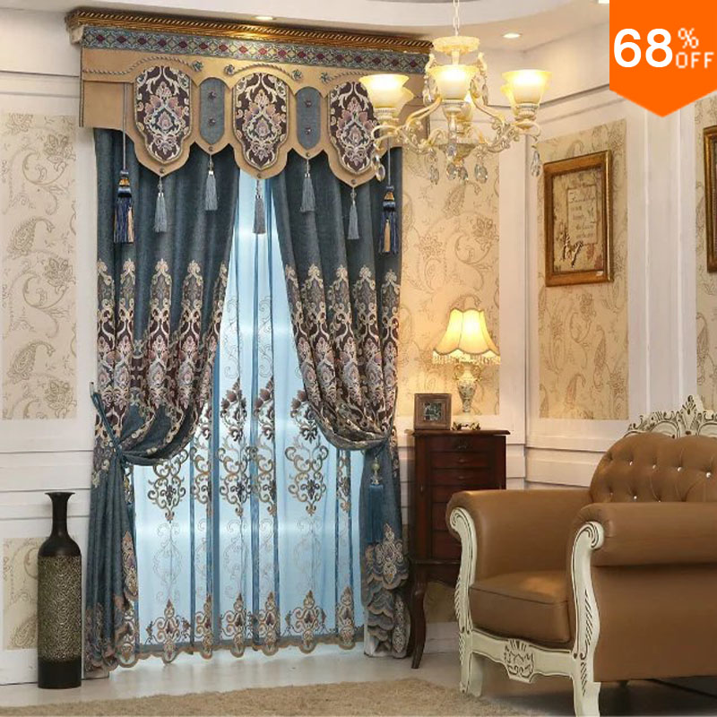 2017 Free Shipping Luxury Embroidery Curtain Green Blue