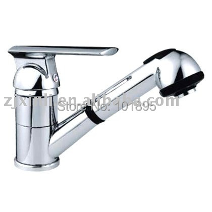 X8065K2 Luxury Deck Mounted Chrome Color Brass Material Hot Cold Water of Pull Out Faucet