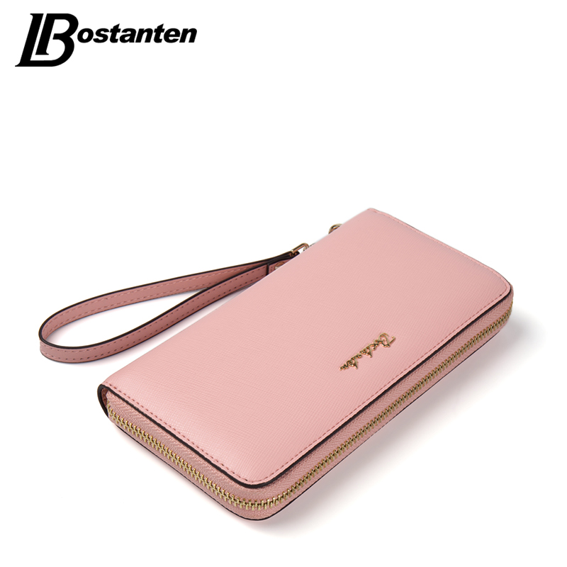 BOSTANTEN Cow Genuine Leather Women Wallet Wristlet Long Zipper Female Purse Luxury Brand Coin Purse Clutch Designer Money Bag large capacity women wallet leather card coin holder money clip long clutch phone wristlet trifold zipper cash female purse