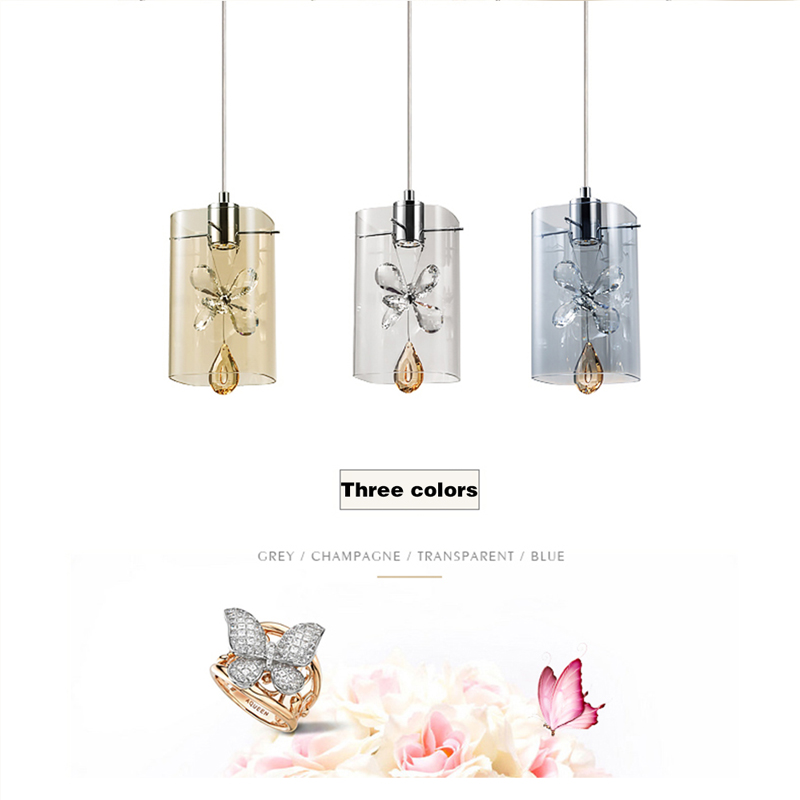 Nordic led pendant lights crystal design simple pendant lamp glass bar bedroom dining room modern pendant lighting glass shade crysta lamp pendant lights lounge dining room bedroom lamp lychee simple new european style warm crystal hanging lamp