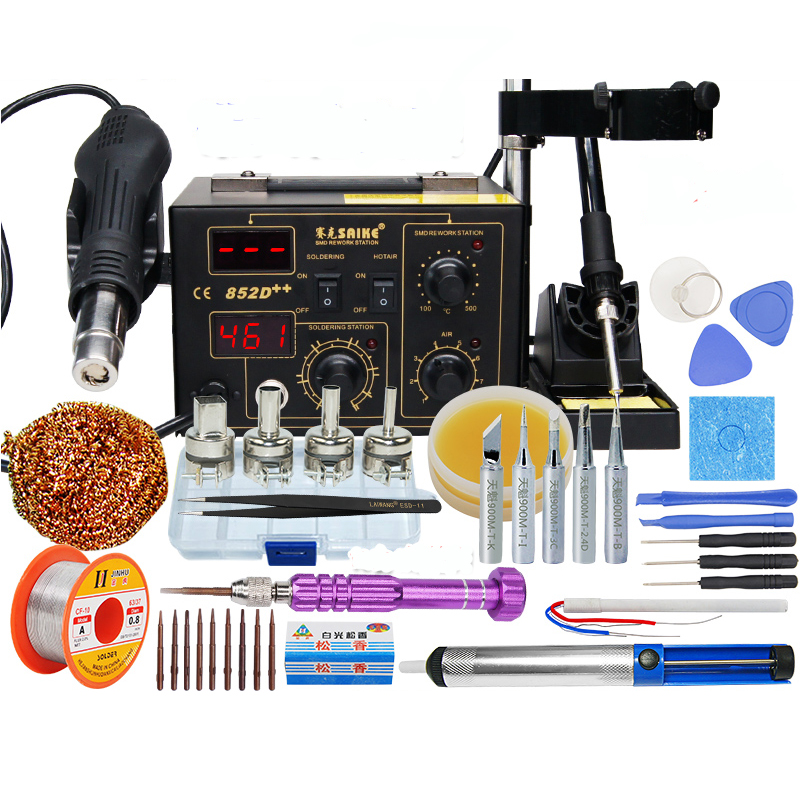 BGA Rework Station Hot Gun Soldering Station Saike 852D++ 2 in 1 220V or 110V Iron Solder Soldering Heat Gun  dhl free saike 852d iron solder soldering hot air gun 2 in 1 rework station 220v 110v many gifts