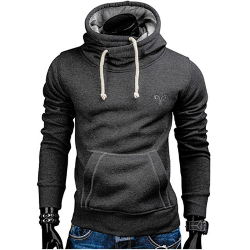2018 Hoodies Novos Primavera Outono Dos Homens Marca de Moda Pulôver de Gola Alta Cor Sólida Sportswear Moletom fatos de Treino Dos Homens Moleton