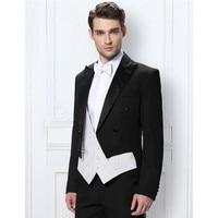 Hot Black Italian Men's Tailcoat Wedding Suit Men's Best Man Set Three Pieces Groom Wedding Suit Short Jacket White Vest Men's S