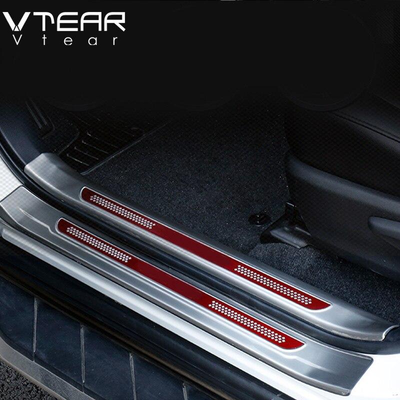 Vtear For Toyota RAV4 RAV 4 2013 2018 Stainless Steel Inside Door Sill Protector Pedal Scuff