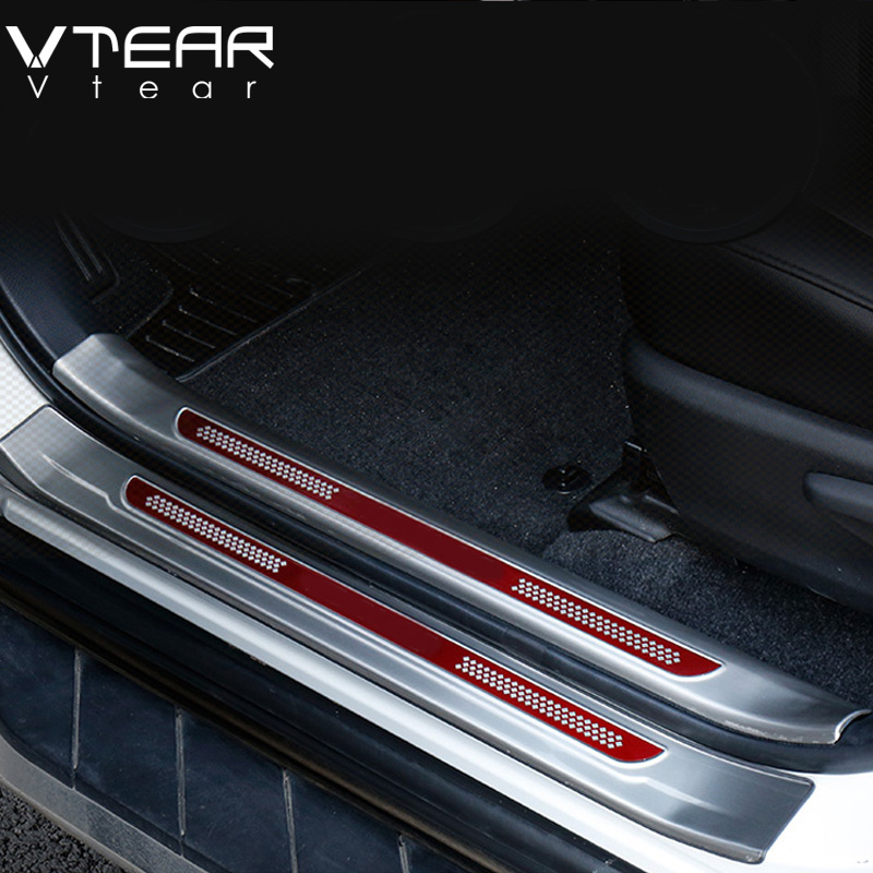 Vtear For Toyota RAV4 RAV 4 2013-2018 Stainless Steel Inside Door Sill Protector Pedal Scuff Plate Cover Trims Accessories jy sus304 stainless steel black door sill scuff plate molding trims car styling accessories for toyota hiace 200