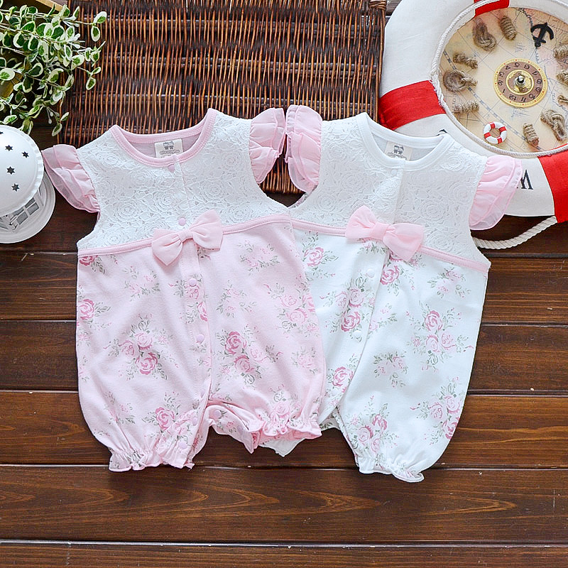 Twins Summer Clothes Baby Girls Baptism Jumpsuit Bodysuit Infant Clothes 3 6 9 12 Months Playsuit Baby Girl Twins Photo Props