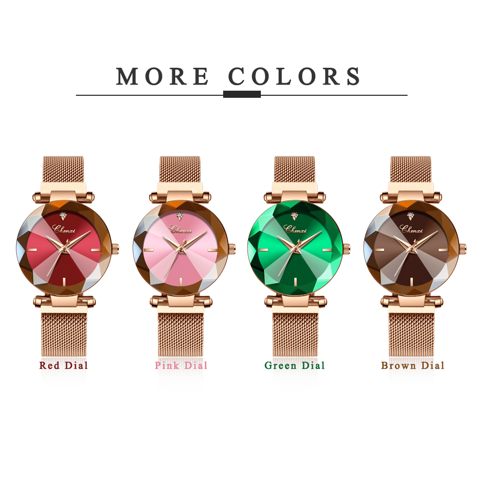 Image 5 - CHENXI Fashion 4 Colors Gem Cut Geometry Crystal Luxury Ladies Quartz Watches Womens Dress Watch Women Clock zegarek damskiWomens Watches   -