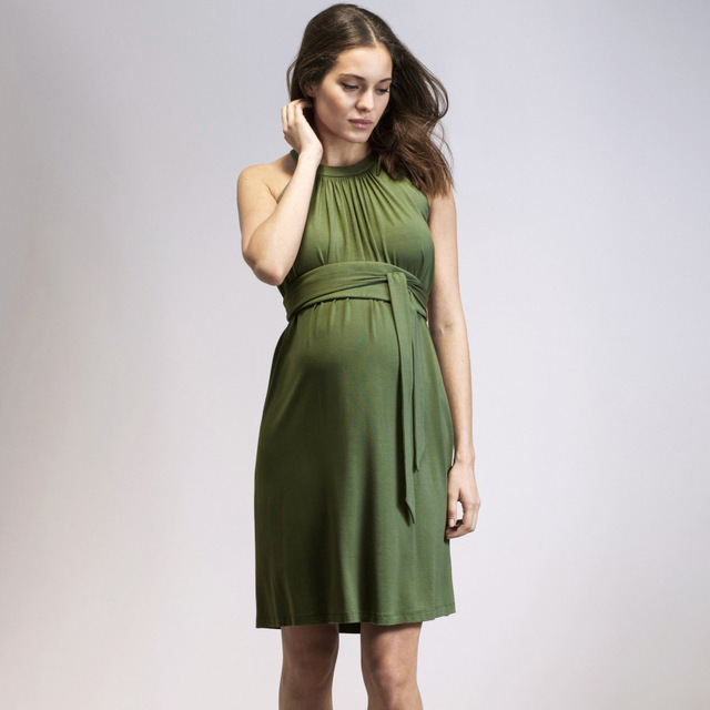 9b84cc8a716be MAGGIE'S WALKER Maternity Dress Elegant Pregnant Women Evening Dress Tencel  Pregnancy Lady Office Vestidos Roupas Gestantes