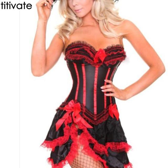 De encaje rojo con volantes busto de san valentín halterneck corset + tutu falda danza bustier overbust lencería sexy caliente traje traje vestido
