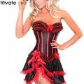 Laço vermelho com babados busto valentine halterneck corset + tutu saia dança bustier overbust sexy lingerie hot costume dress outfit