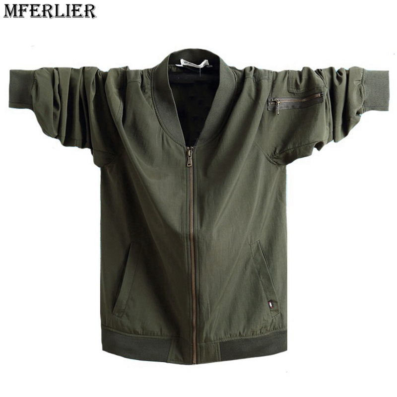 MFERLIER autumn High quality sense men plus size big 5XL 6XL 7XL jackets Upscale pocket zipper casual bomber jackets armygreen