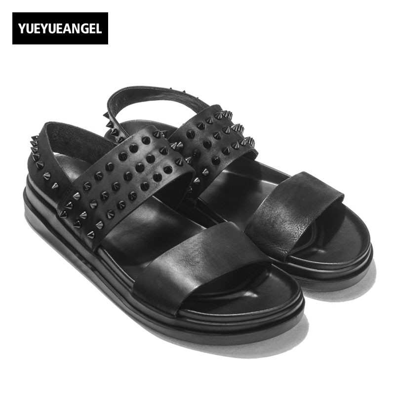 2018 Summer Thick Platform Rivet Mens Real Leather Shoes Fashion Brand Beach Slip On Roman Sandals Men Zapatos Hombre Casual
