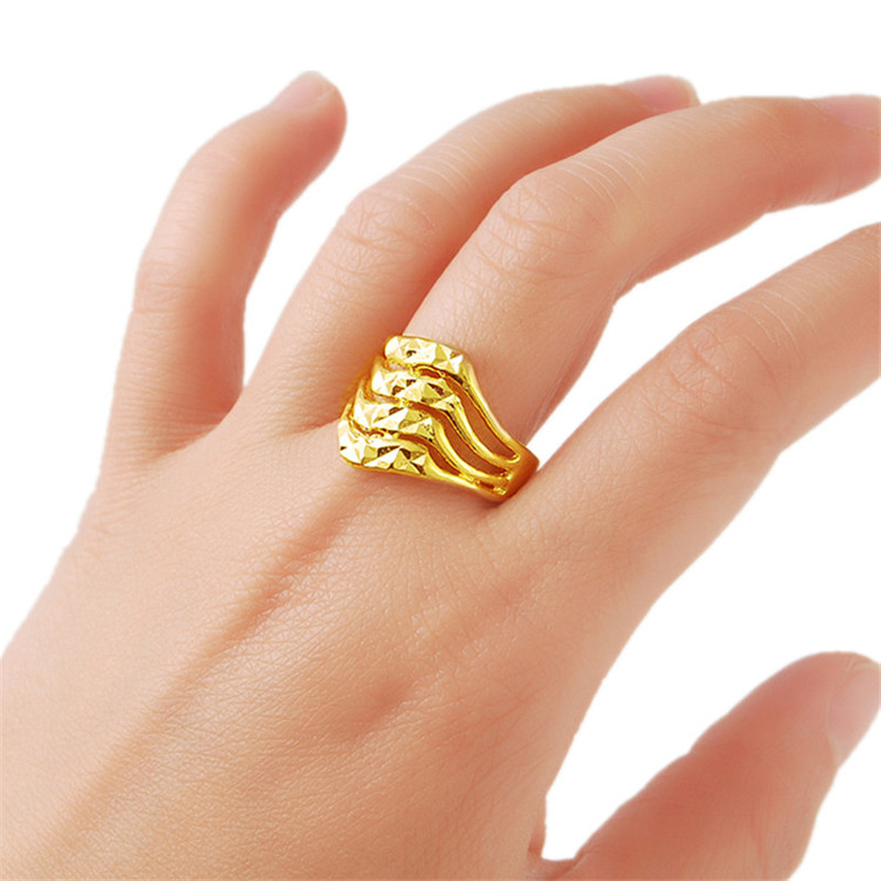 3e42f07faae99 US $2.43 39% OFF|Fashion Design Gold Finger Rings Women Wedding Jewelry  Ring Gold Filled Golden Rings Size 6 7 8 9 R002-in Wedding Bands from  Jewelry ...