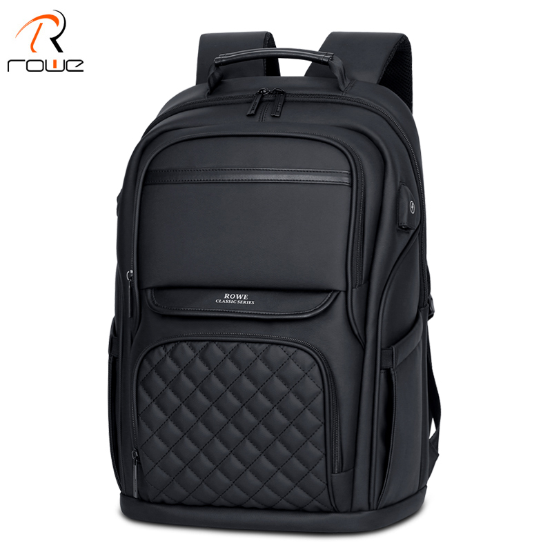 ROWE Business Men's Backpack Black USB Charging AntiTheft Laptop Backpack 15.6 Inch Male Large Capacity Fashion Travel Backpacks-in Backpacks from Luggage & Bags    1