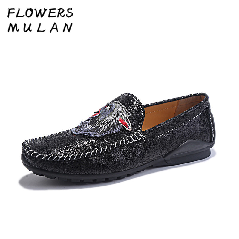 Black Genuine Leather Men Casual Shoes Slip On Soft Rubber Heel Male Leisure Loafers Sewing Totem Loafer Massage Breathable Man branded men s penny loafes casual men s full grain leather emboss crocodile boat shoes slip on breathable moccasin driving shoes