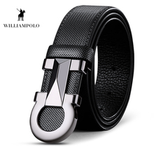 Williampolo 2019 100% Cowhide Leather Mens Automatic Buckle Belt Luxury Brand Casual Waist PL18224-26P
