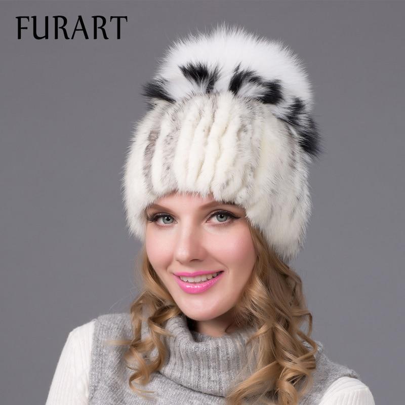 Winter Fur Hats Women 2 Colors Mink Fox Caps Fox Fur Soft Warm Women Winter Cap Natural Mink and Fox Fur Handmade hat DHY-25