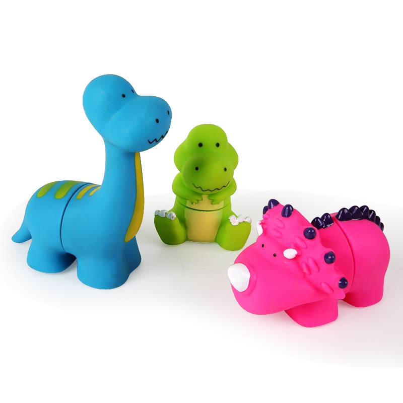 3Pcs/set Cartoon Baby Bath Toys Dinosaur Animal Shaped Soft Kids Bath Toy & Summer Play Water Bath Toy