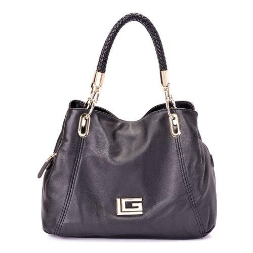 Guy Laroche Black Soft Leather Women S Portable Handbag