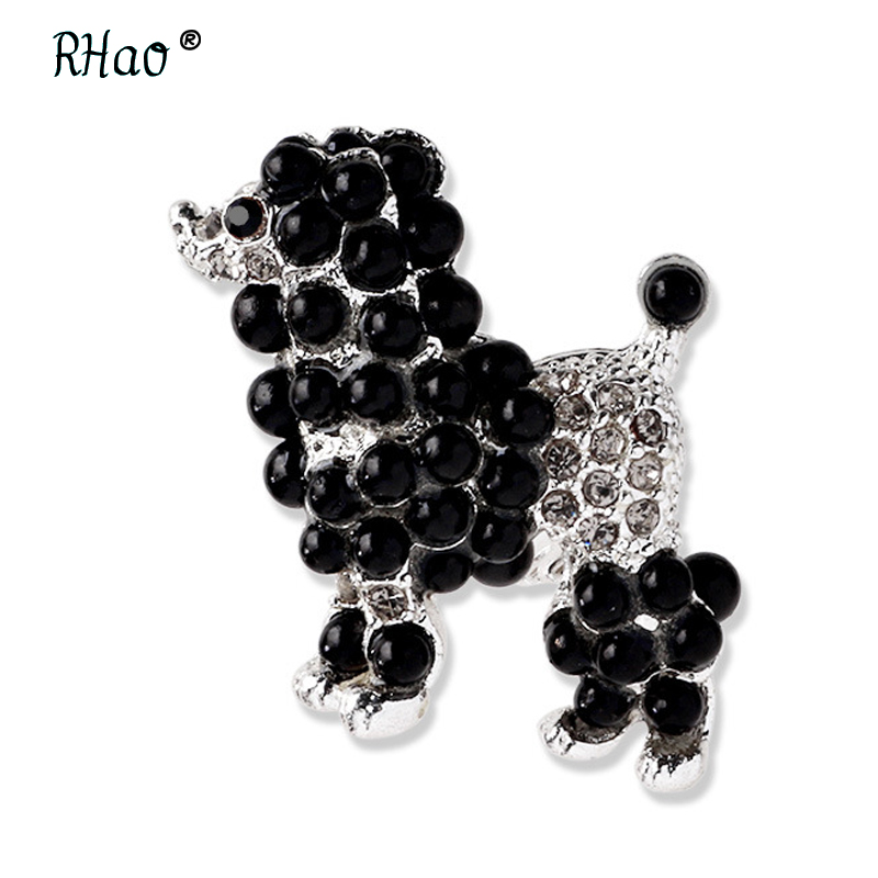 RHao Cute Boys Girls Poodle Pet Brooches pins Black Pearl Lovely Dog animal brooches for women men clothes jewelry accessories