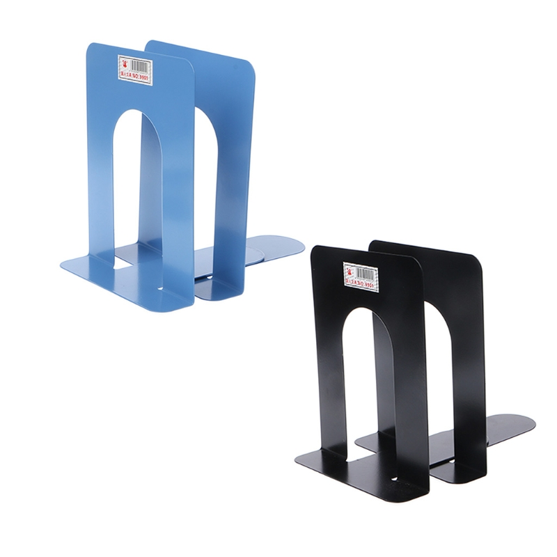 Simple Style Metal Bookends Iron Support Holder Desk Stands For Books L29K