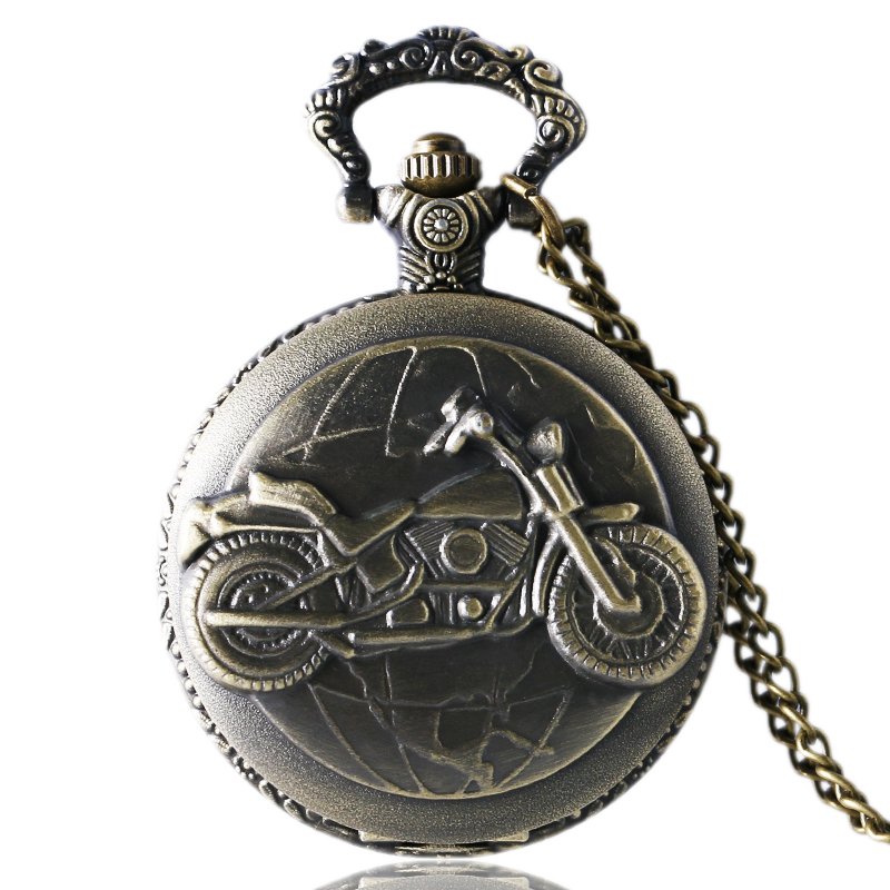 Antique Bronze Motorcycle Motorbike MOTO Pocket Watch Necklace Pendant Men Gift P79