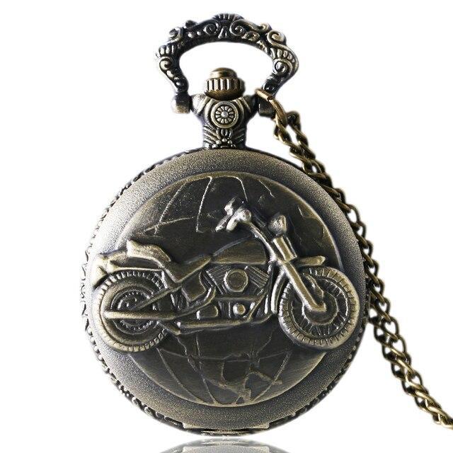 Antique Bronze Motorcycle Motorbike MOTO Pocket Watch Necklace Pendant Men Gift