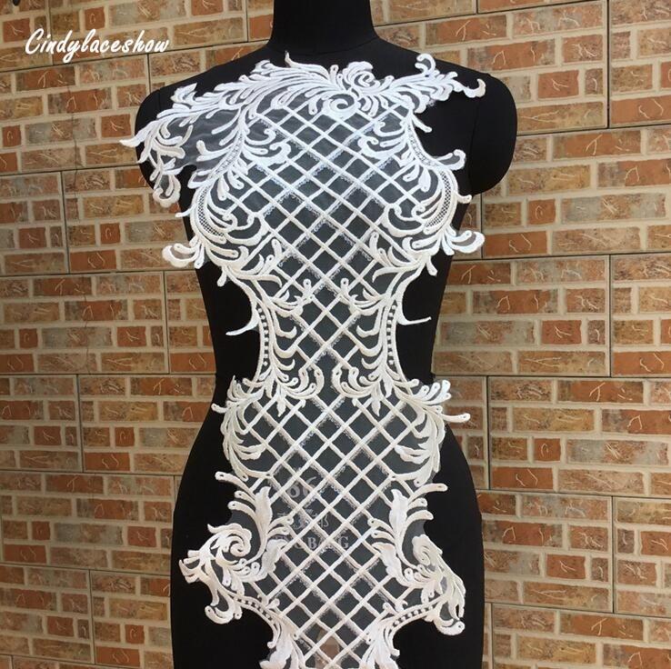 102 37cm Large White Sequins Lace Applique Mesh Venise Sequins Bridal Lace Trims Wedding Dress Lace Accessories Sewing Appliques in Lace from Home Garden