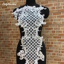 цены 102*37cm Large White Sequins Lace Applique Mesh Venise Sequins Bridal Lace Trims Wedding Dress Lace Accessories Sewing Appliques