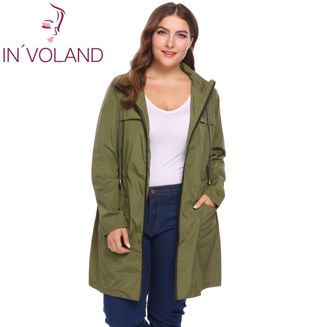 IN'VOLAND Plus Size Women Jacket Coat Hoodie Winter Autumn Drawstring Zipper Loose Windbreaker Large Rain Overcoat Big Size