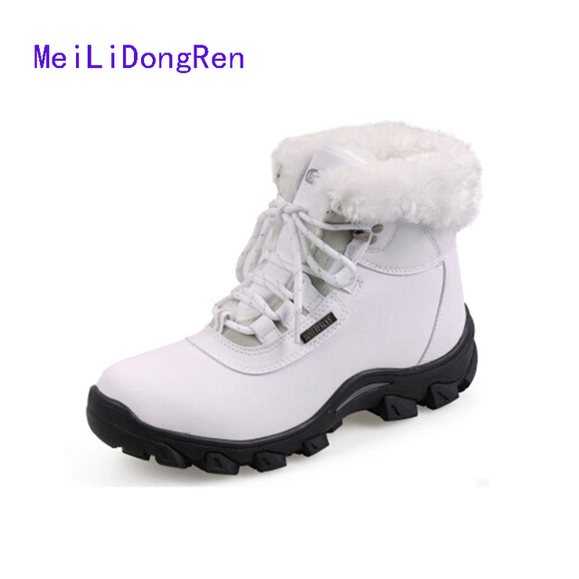 2017 Brand Genuine Leather Women Winter Warm Shoes Cotton-padded Snow Boots Casual Shoes Flats bota de neve