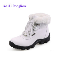 2014 Brand Genuine Leather Women Winter Warm Shoes Cotton Padded Snow Boots Casual Shoes Flats Bota