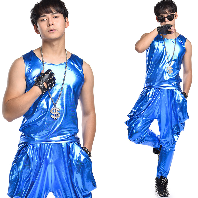 Men's Fashion Design Blue Shining Vest Pants Sequins Male Singer Nightclub Outfit Wear Stage Bright Performance Costume DL2353