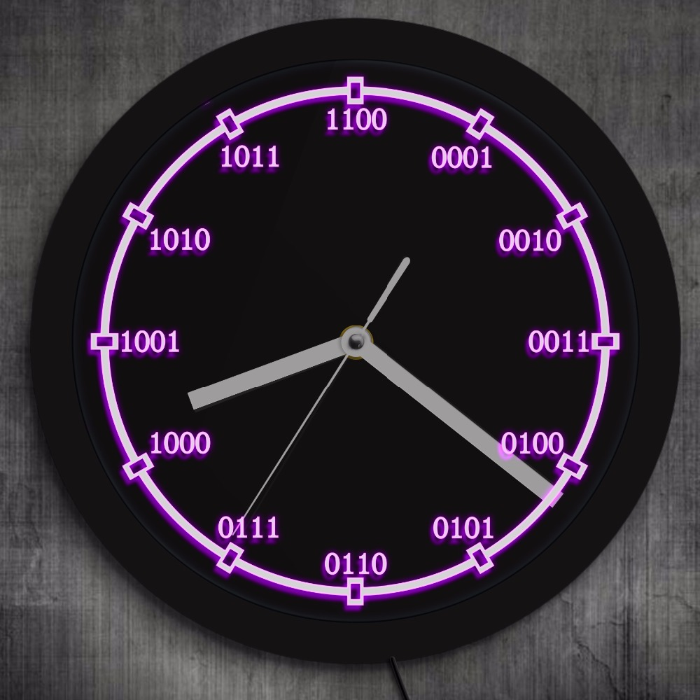 Binary Code Decorative Wall Clock With LED Backlight Math Numbers Equation LED Neon Sign Wall Clock Teachers Educational Gifts