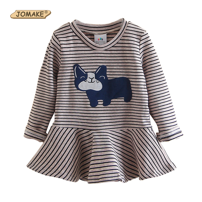 Striped Girls Dress Cartoon Long Sleeve Kids T shirts Dresses Children Applique Dog Autumn/Spring Kids Clothes for Baby Girl