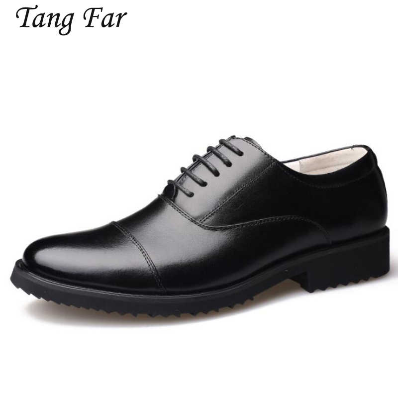 Big Size Men Officer Shoes Three Joint Men's Leather Uniform Military Business Shoes Black Luxury Design Formal Dress Men Flats