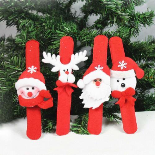 1 шт. Рождество похлопывая круг часы-браслет Рождество Детский подарок Санта Клаус Снеговик Олень Новый год партии игрушка наручные украшения