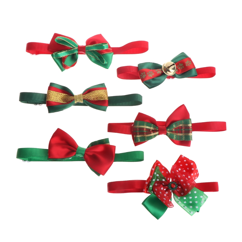 Christmas Santa Claus Pet Dog Cat Puppy Bell Bow Tie Adjustable Identify Necktie