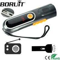 Boruit Đa Chức Năng Cầm Tay Điện USB Sạc Flashlight AM/FM Radio ánh sáng Đèn Flash Điện bank Torch Camping Hunting Đèn Lồng