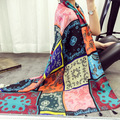 New  foreign trade  seven color squares totem scarf Female cotton sunscreen scarves Long shawl dual-use