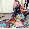 Novo comércio exterior sete cores quadrados totem cachecol Feminino protetor solar algodão Longo cachecóis shawl dual-uso